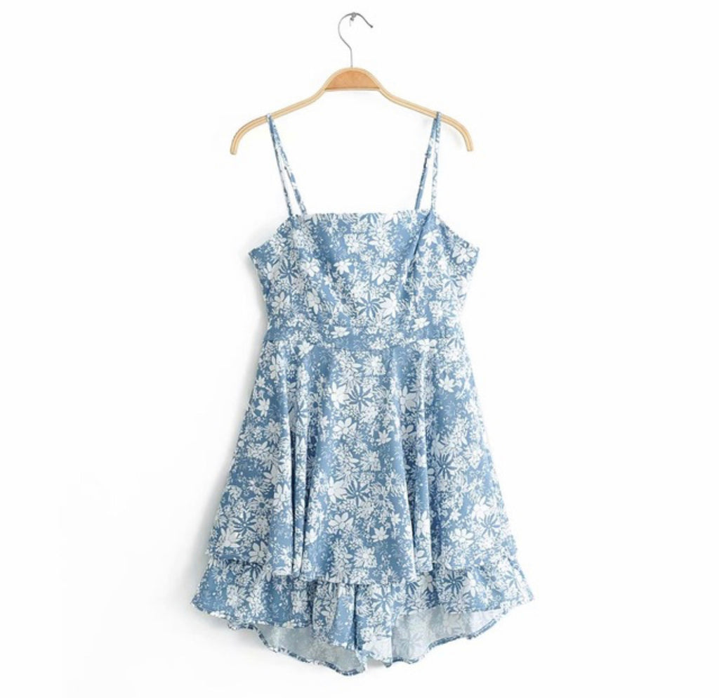 Blue Floral Bow Tie Jumpsuit