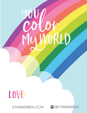 'You Color My World' Valentine Card