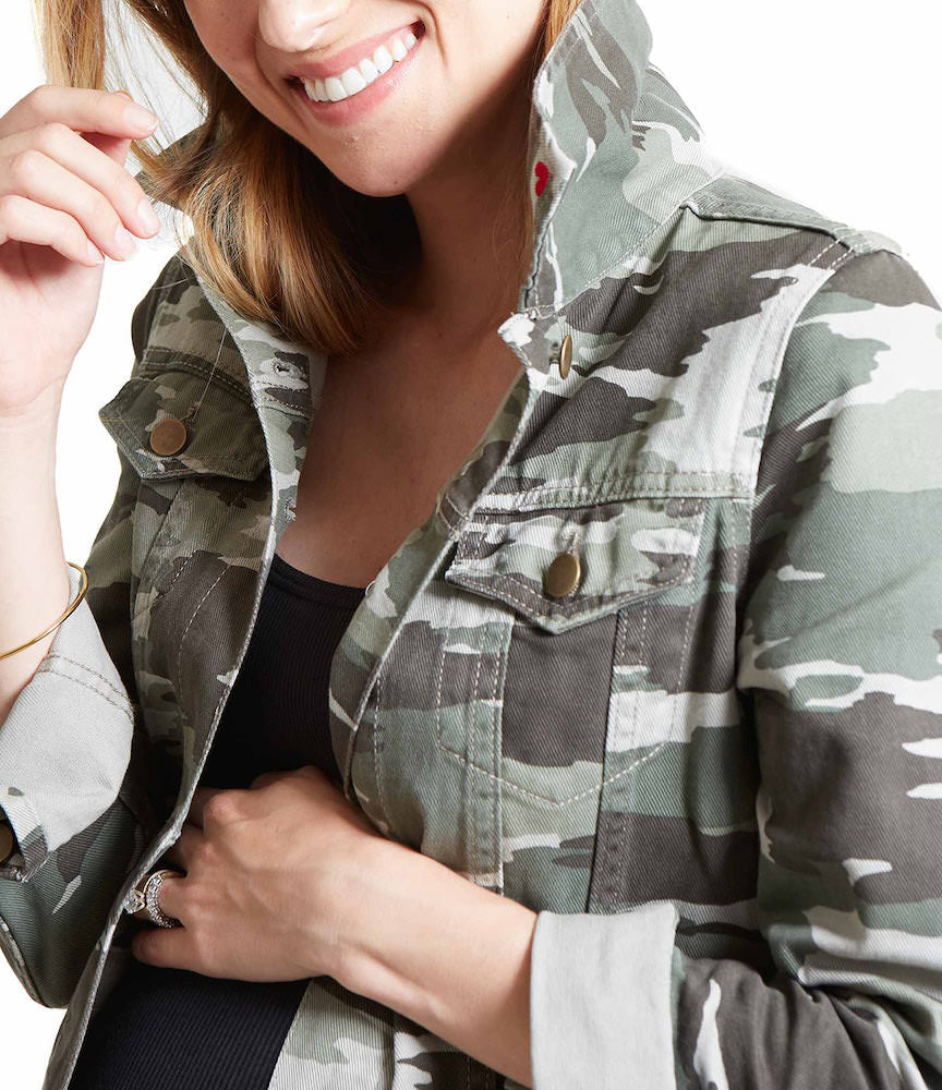 FASHION + FUNCTIONCute camo print paired with brass hardware, welt front pockets, and chest pockets with button flap.