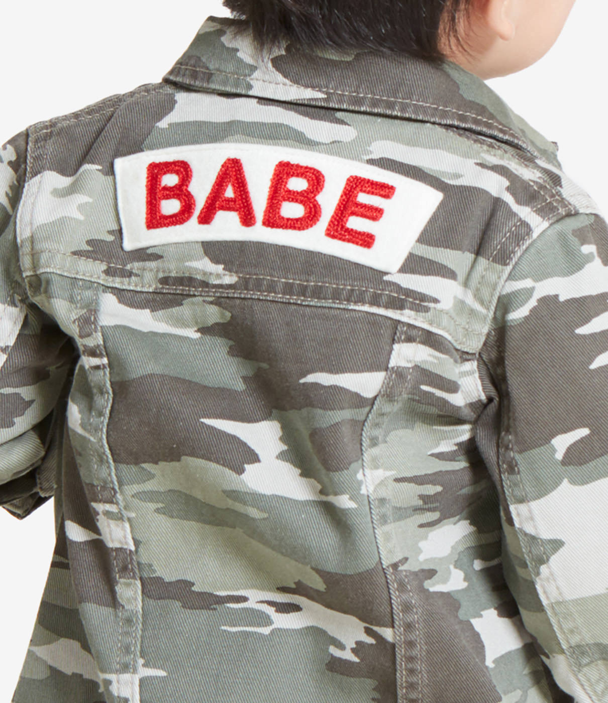 """IN THE DETAILSChain stitched """"Babe"""" felt patch on back."""