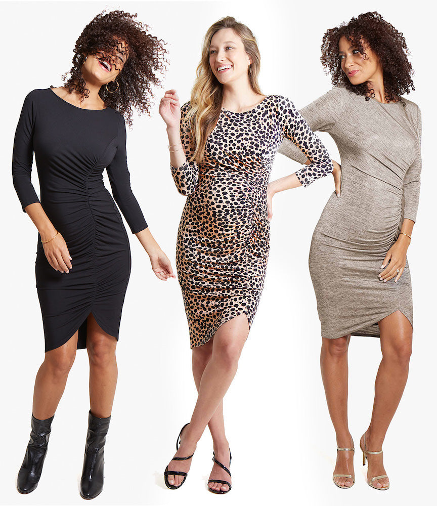 CHOICE COLORSThis versatile dress covers all the bases: black (classic), leopard print (fun!), and gold foil (ooh-la-la).