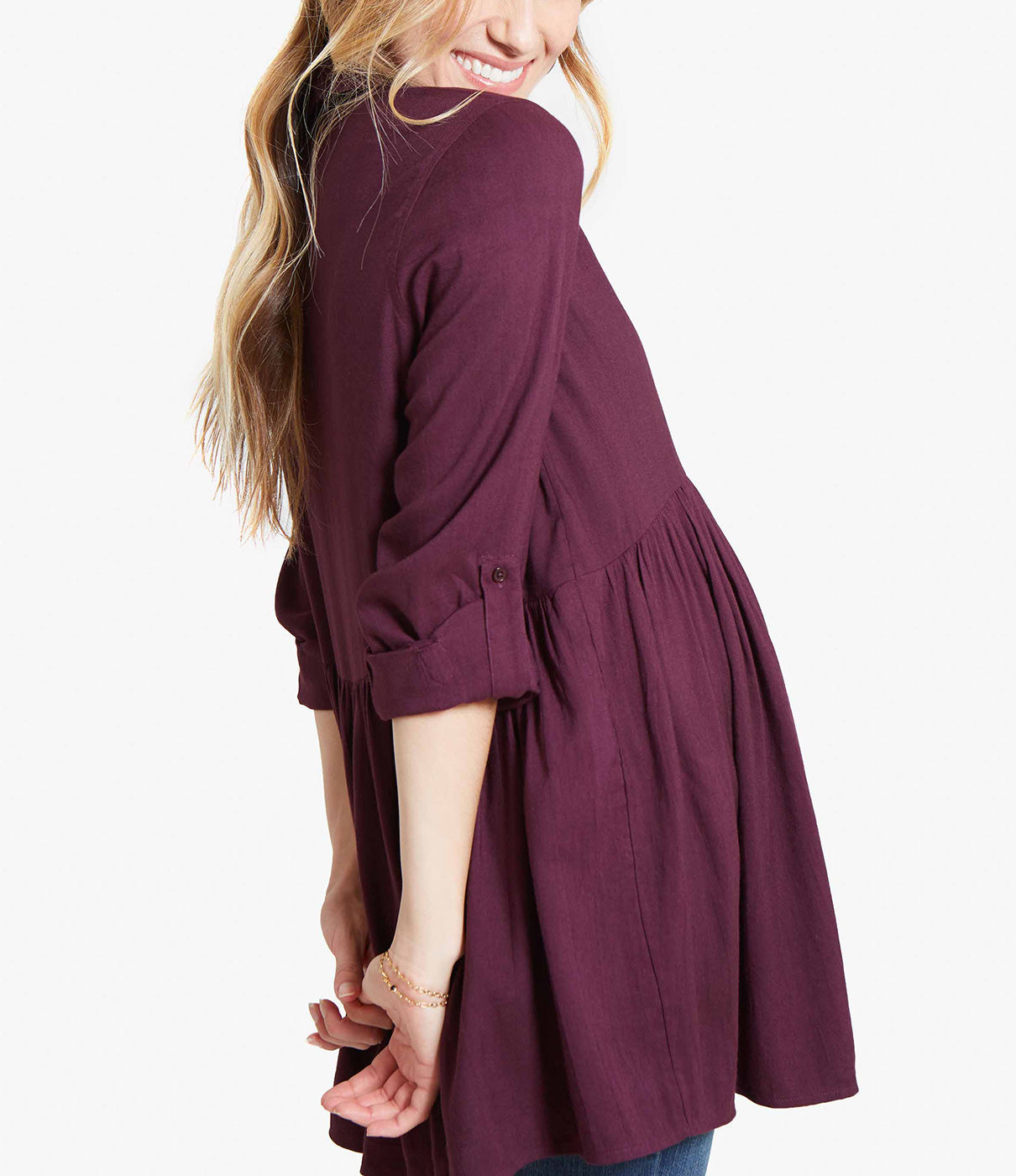 CHOICE COLORSA white button-down is a maternity wardrobe must, but you might want to grab one in plum too, the perfect hue for your favorite fall looks.