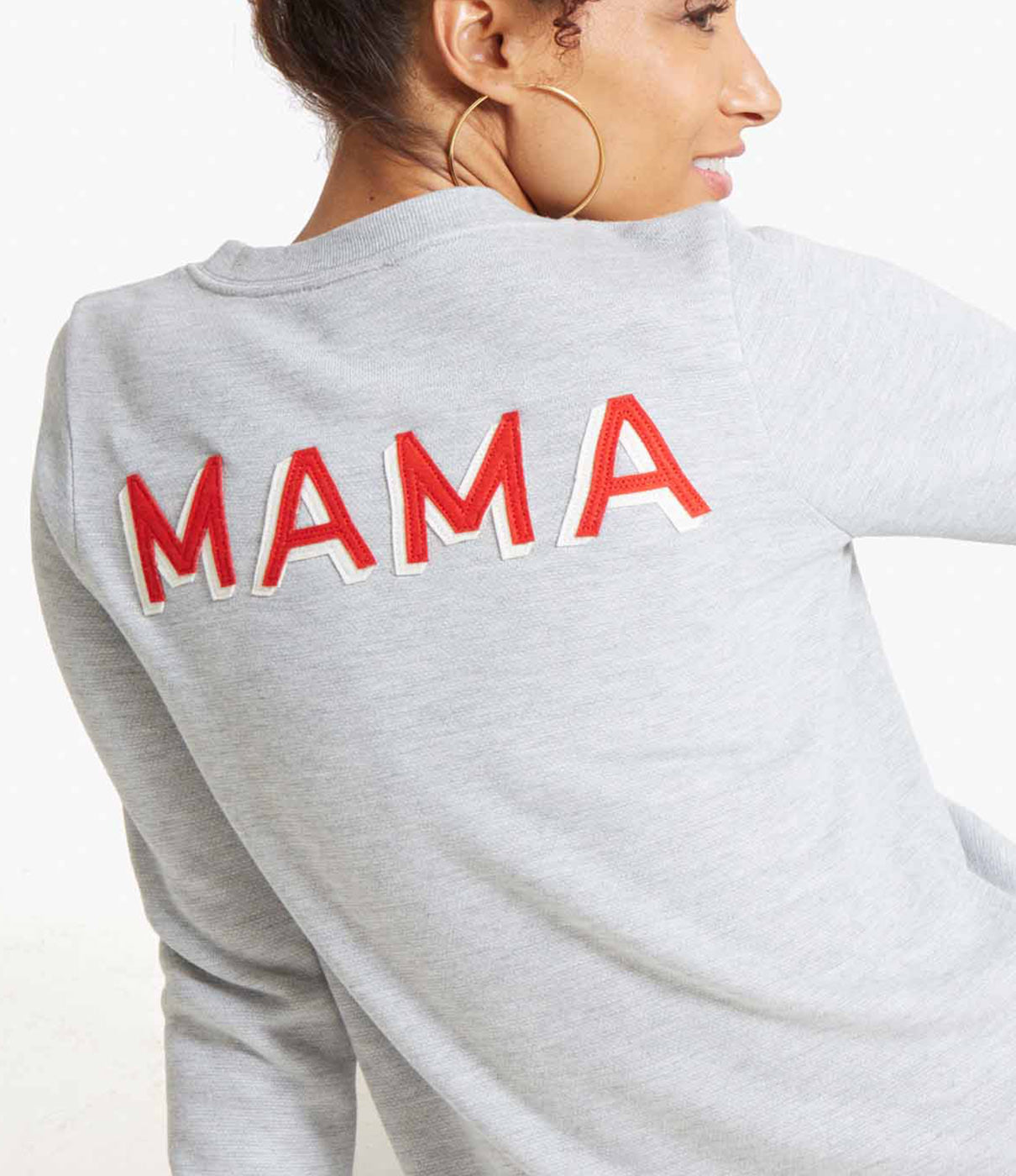 SIMPLE STYLEA crewneck sweatshirt is a style staple. We've made it mama-specific with a varsity-inspired back patch—perfect for gifting too!