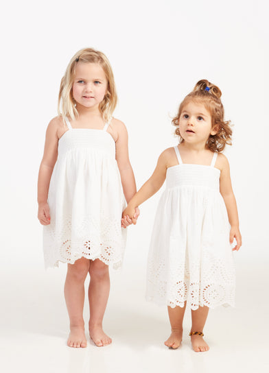 Mini Me Embroidered Scallop Hem Baby and Toddler Dress