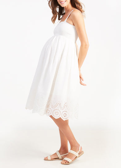 Embroidered Scallop Hem Maternity Dress