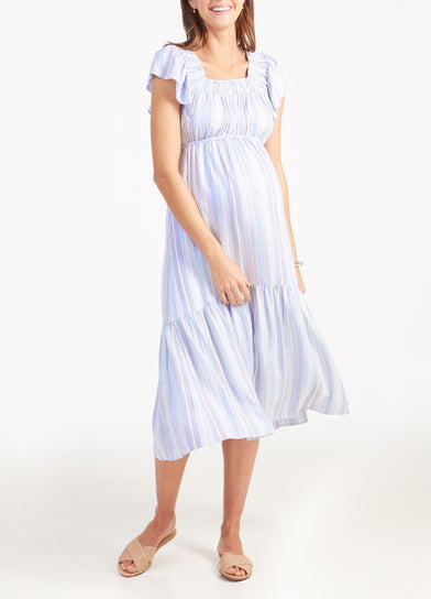 Flutter Sleeve Maternity Midi Dress