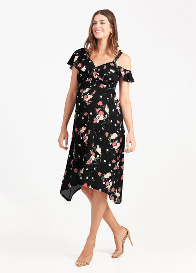 Floral Asymmetric Maternity Dress