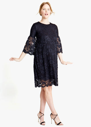 Lace Bell Sleeve Maternity Swing Dress
