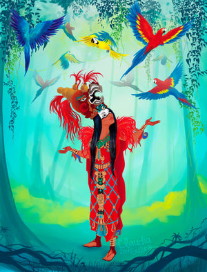 Rattle snake nahual meets Cosmic Macaw