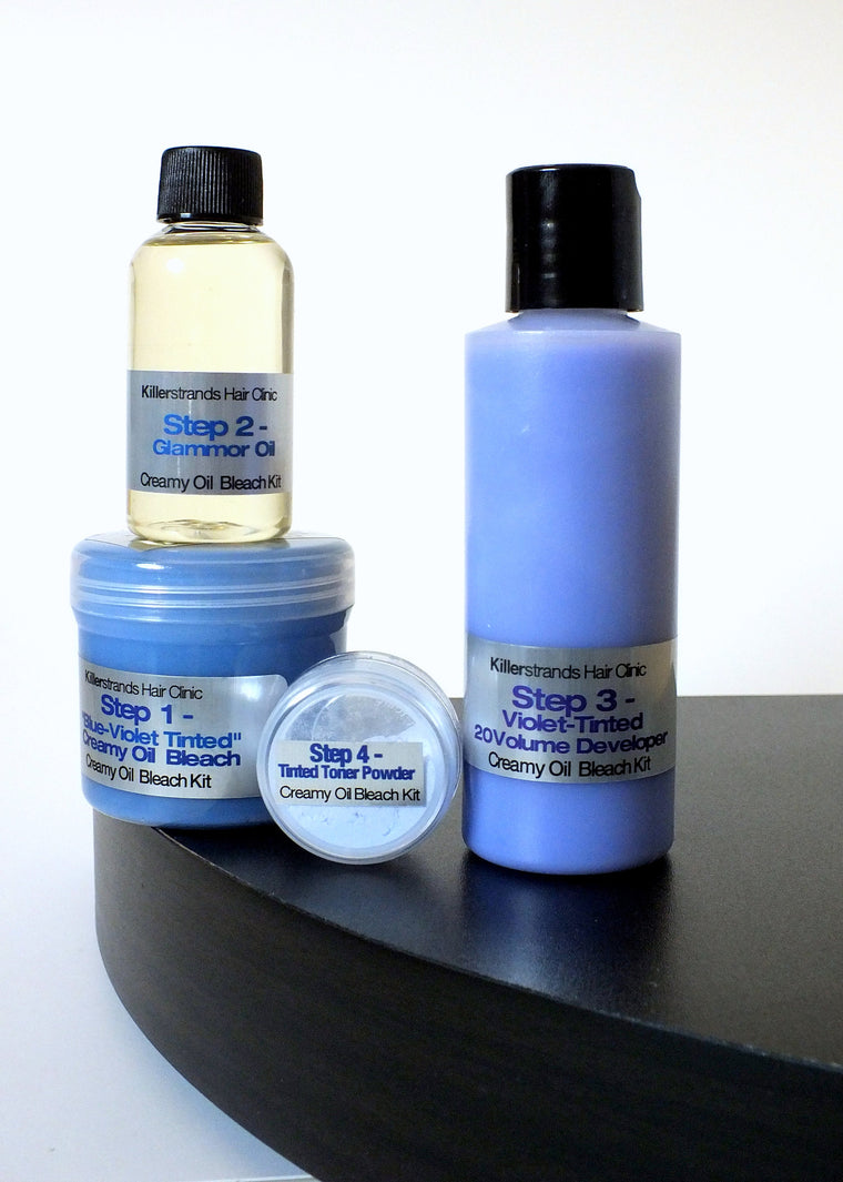 Violet-Blue Tinted Creamy Oil Bleach Base Kit - 2 Apps. per Kit
