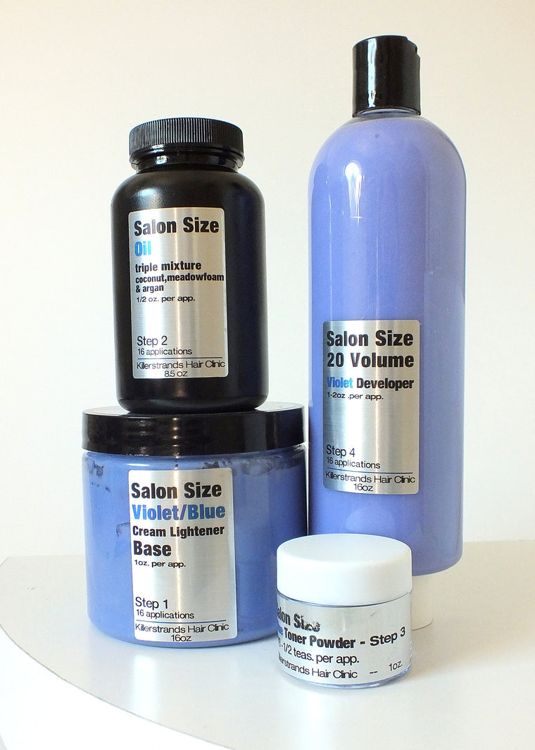 Violet/Blue Creamy Oil Lightener Kit - SALON SIZE - 16 applications!
