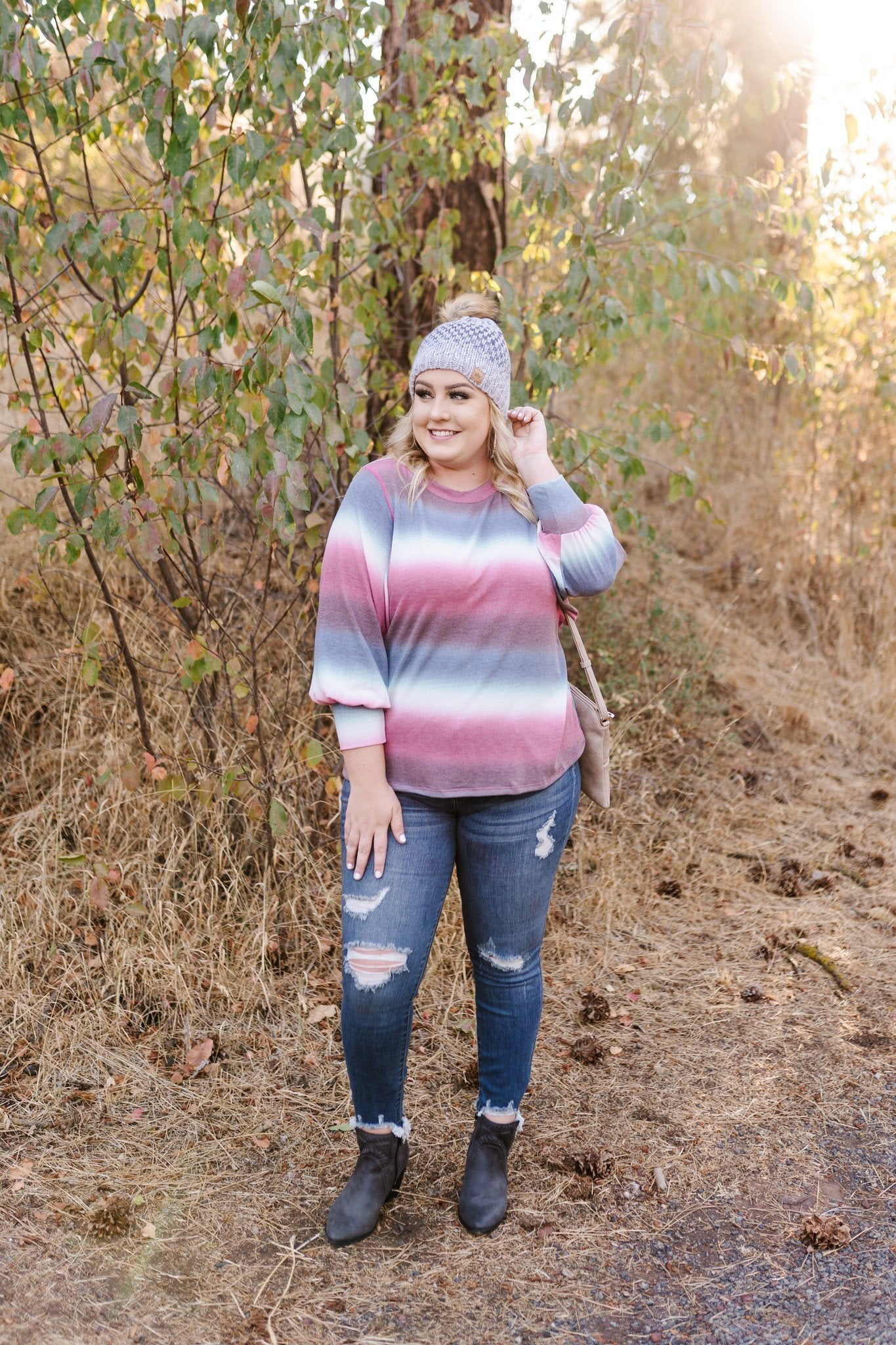 Caught Up In You Striped Ombre' Top - Lola Cerina Boutique