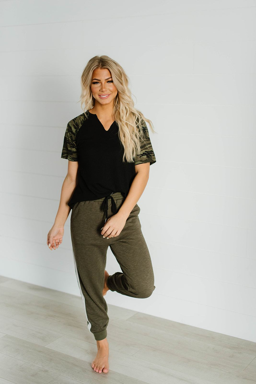 On The Run Camo Contrast Top, Clothing - Lola Cerina Boutique