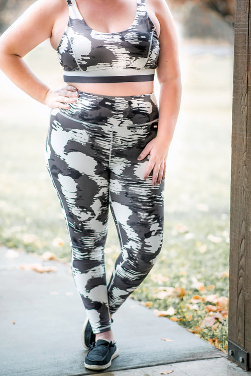 Strong To The Core In White Cloud Athletic Leggings,  - Lola Cerina Boutique