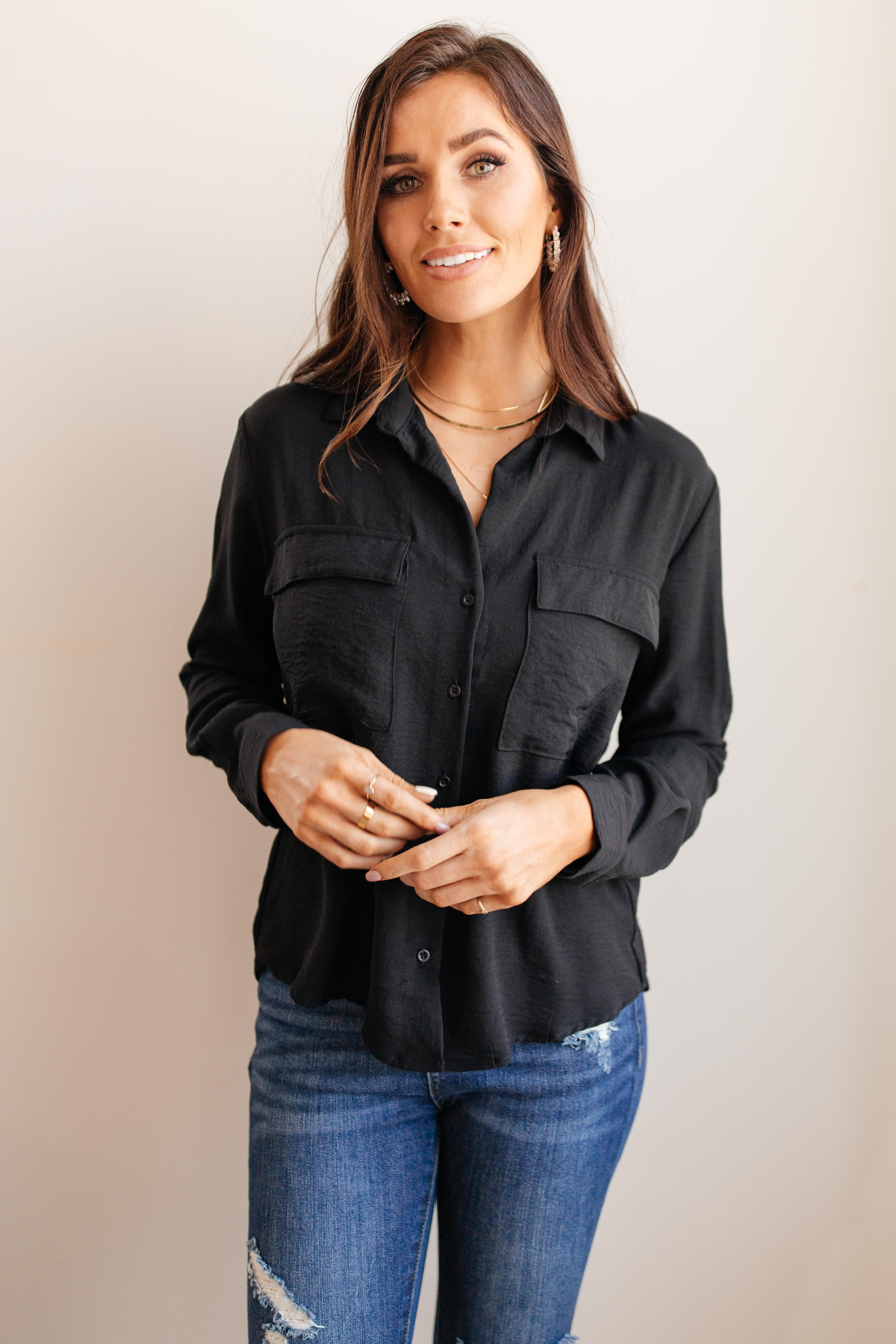 Every Girl's Go To Black Button Down - Lola Cerina Boutique