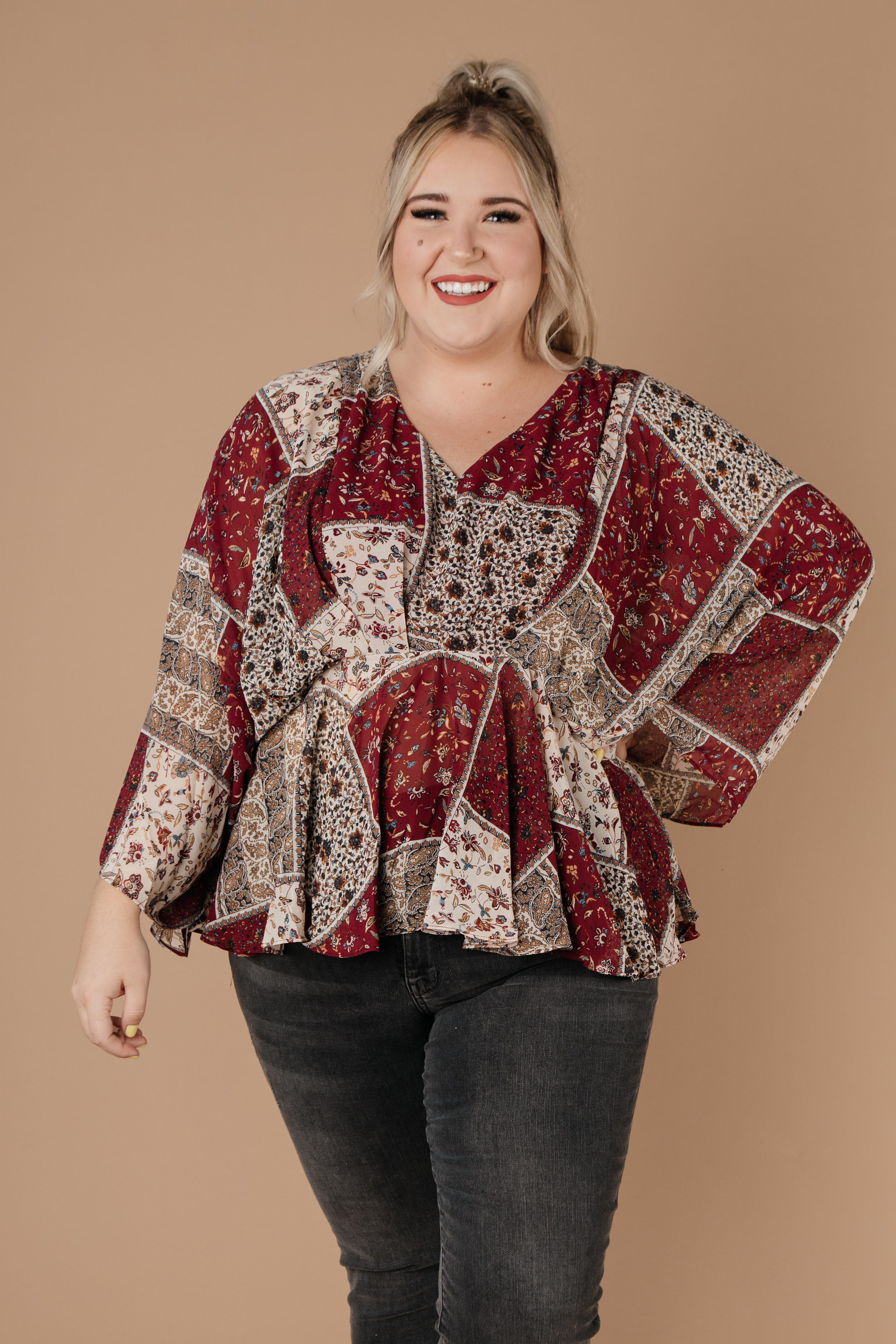 Patch Things Up Date Night Blouse, Womens - Lola Cerina Boutique