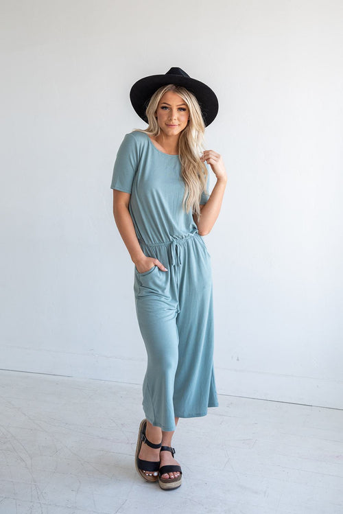Try Something New Capri Jumpsuit- Palest Green
