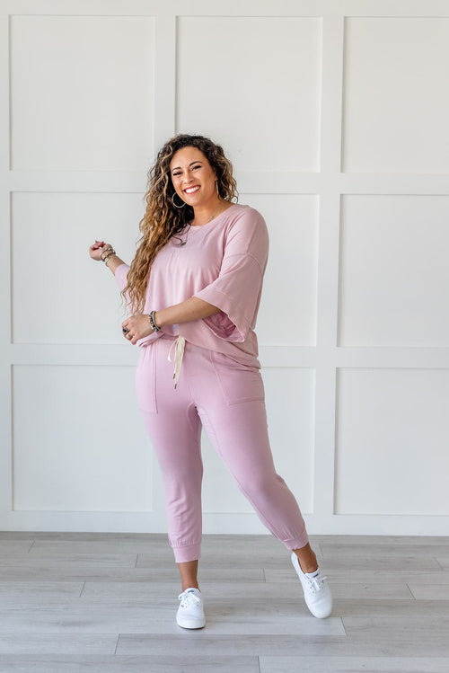 Lazy Weekend French Terry Joggers- Pink - Lola Cerina Boutique