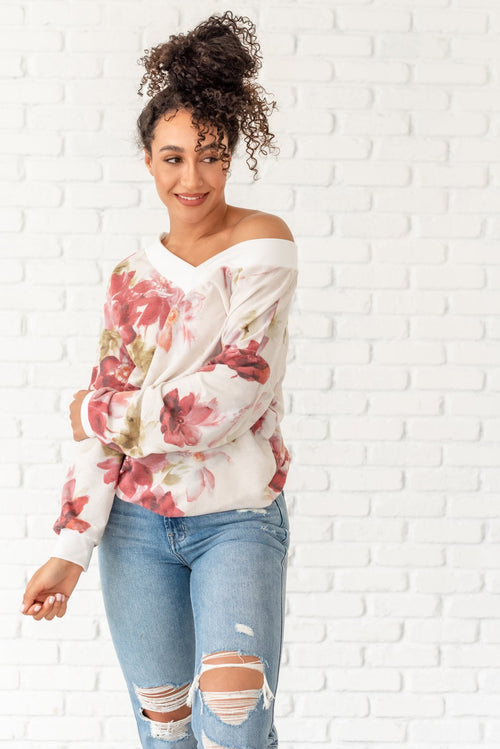 Watch Me Bloom Floral Knit Top - Lola Cerina Boutique