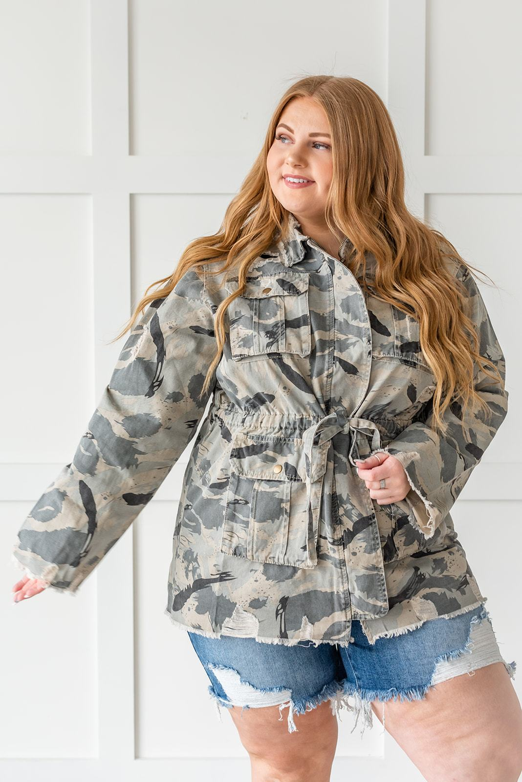 Sweet Camo Twill Jacket- Plus - Lola Cerina Boutique