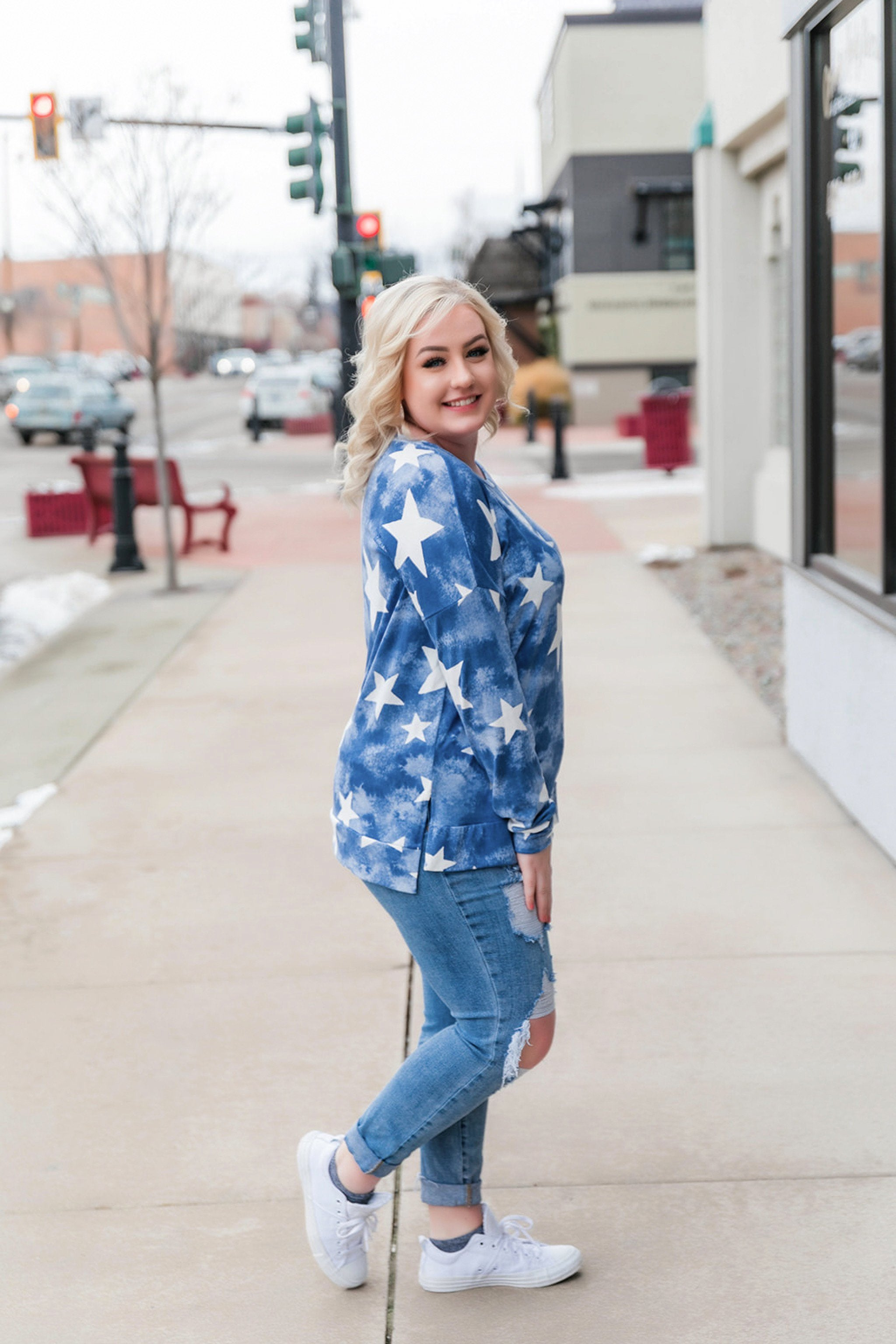 Star Bright Top In Blue,  - Lola Cerina Boutique
