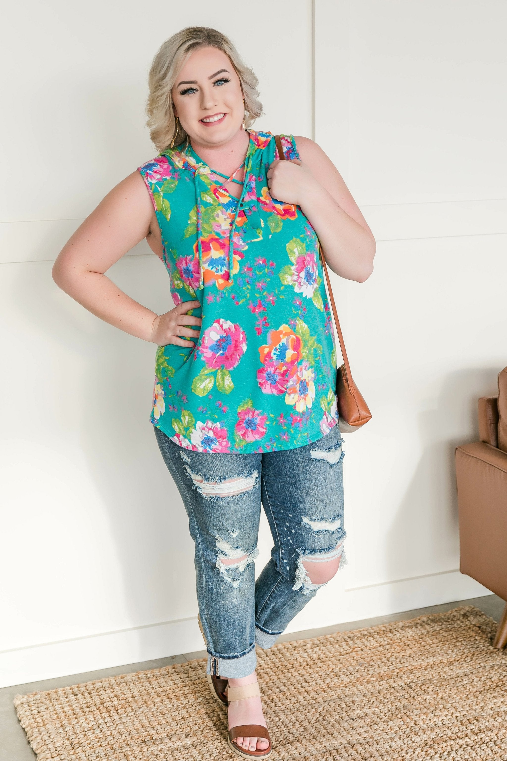 Flying My Way Floral Sleeveless Hoodie - Lola Cerina Boutique