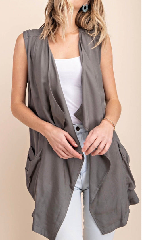 Delaney Open Draped Front Vest | OLIVE, Layers | Jackets - Lola Cerina Boutique