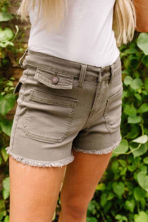 Olive Fatigue Patch Pocket Shorts by Judy Blue - Lola Cerina Boutique