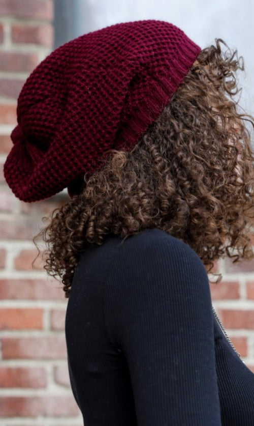 Waffle Knit Slouch Beanie | Cranberry, Unclassified - Lola Cerina Boutique