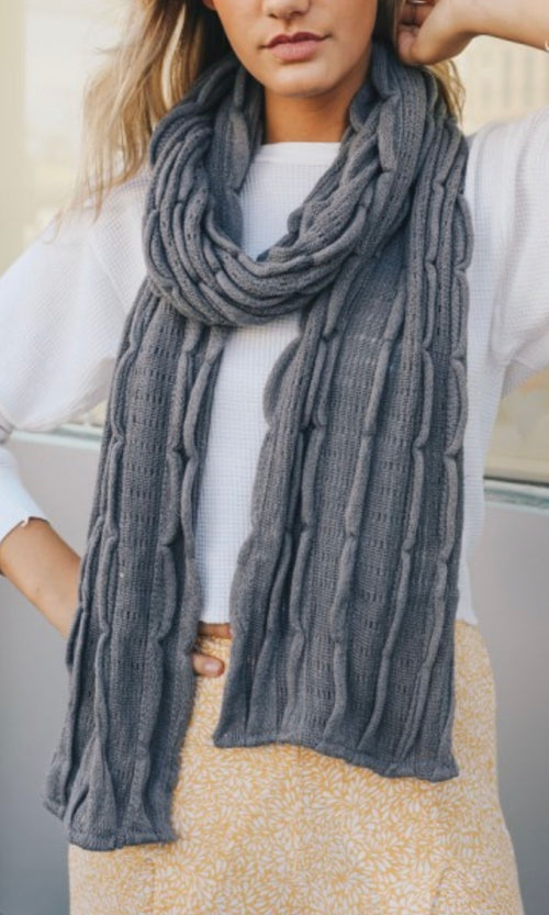Scallop Knit Scarf | Grey, Unclassified - Lola Cerina Boutique