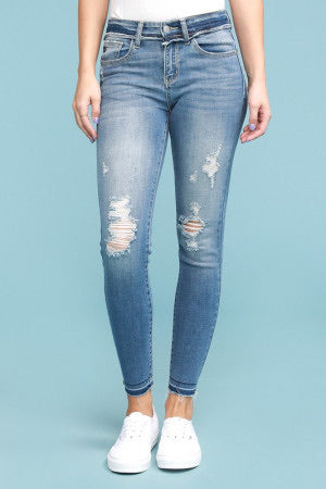 Gwen Raw Waistband Distressed Skinny Jean by Judy Blue, Unclassified - Lola Cerina Boutique