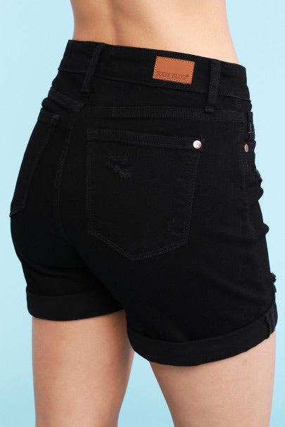 Black Cuffed Distressed Shorts by Judy Blue - Lola Cerina Boutique