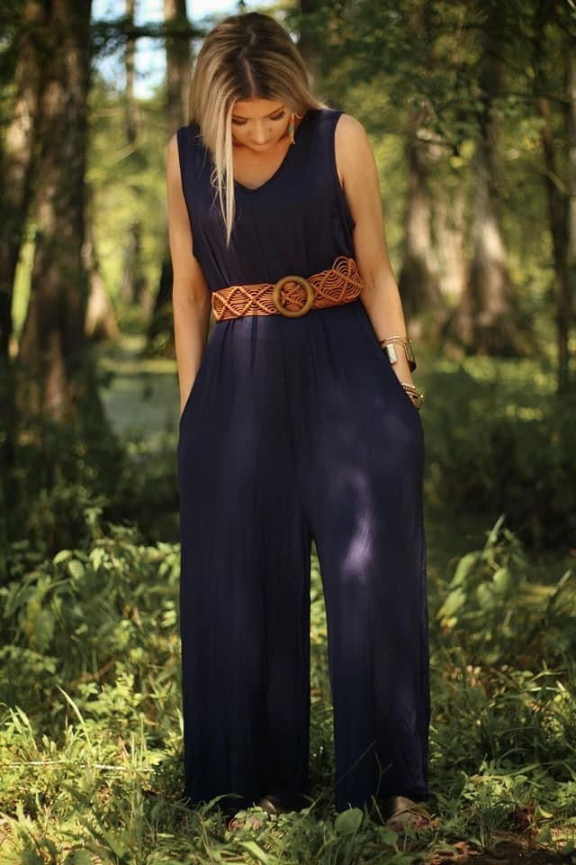 Sunny Days Cropped Jumpsuit in Navy - Lola Cerina Boutique