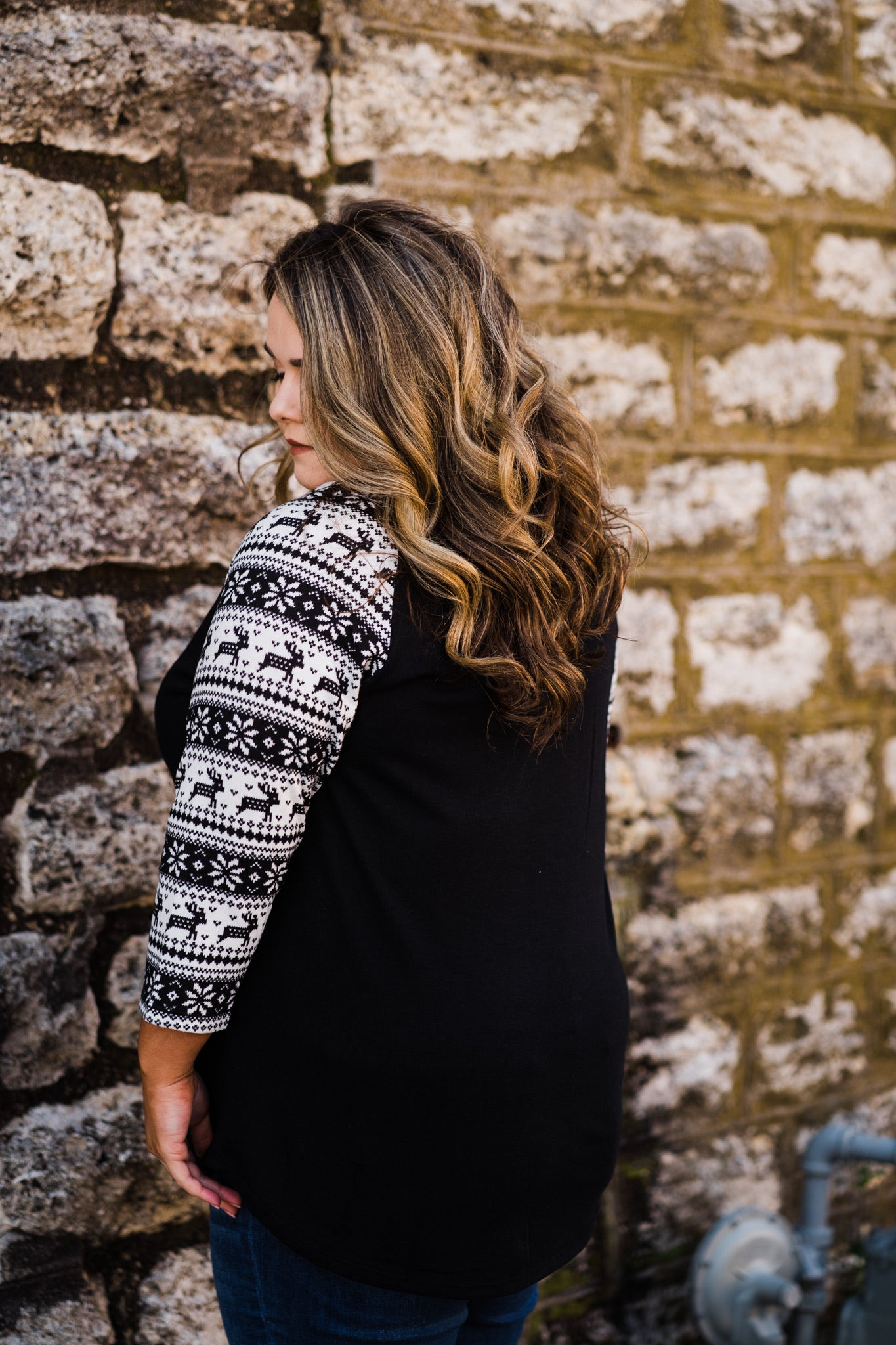 Raglan Top | Reindeer Fair Isle, Unclassified - Lola Cerina Boutique