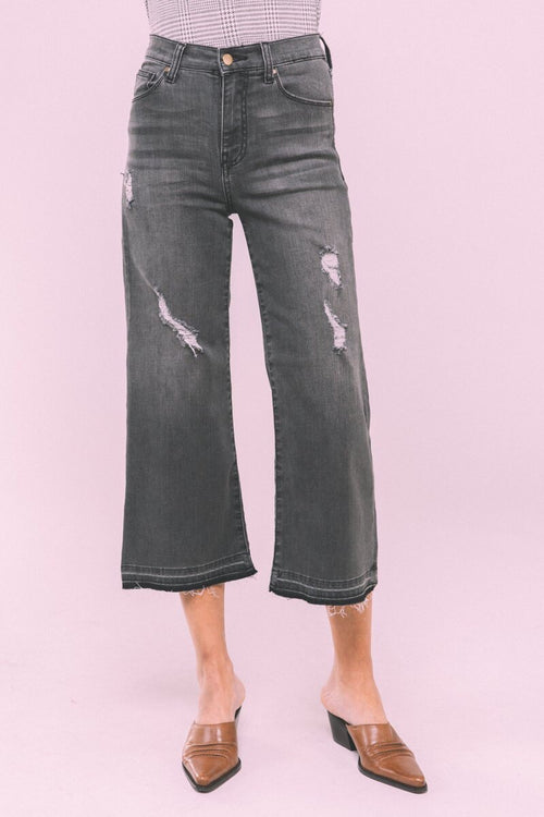 Crescent Drive Crop Wide Leg Denim | BLACK VINTAGE, Unclassified - Lola Cerina Boutique