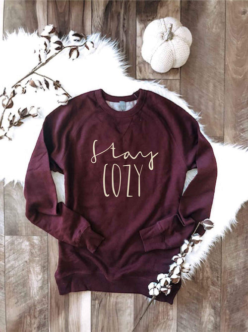 PREORDER | GRAPHIC Luxe Raglan Sweatshirt- Stay Cozy | Maroon,  - Lola Cerina Boutique