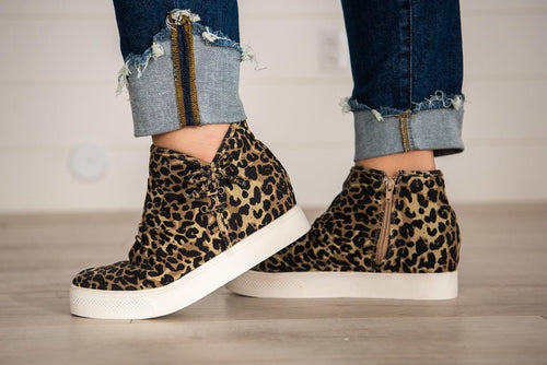 Very G Angela Hidden Wedge Sneaker  | Leopard,  - Lola Cerina Boutique