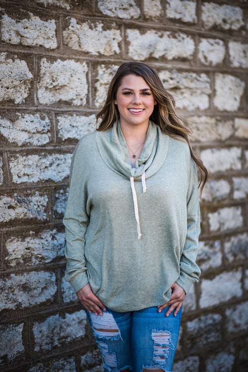 Crescent Drive Cowl Neck Long Sleeve Swoodie | Sage, Unclassified - Lola Cerina Boutique
