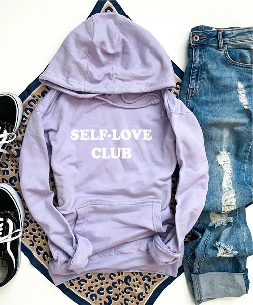 PREORDER | Graphic Hoodie -  Self Love Club | Lavender,  - Lola Cerina Boutique