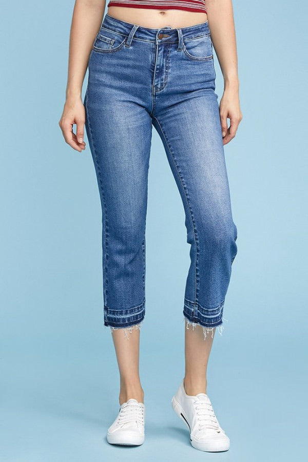 Sara Straight Released Hem Crop Denim by Judy Blue, Unclassified - Lola Cerina Boutique