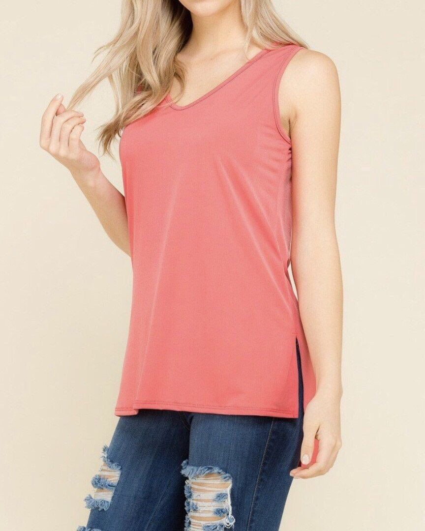 Mia V Neck Sleeveless Keyhole Top  | CORAL, Unclassified - Lola Cerina Boutique