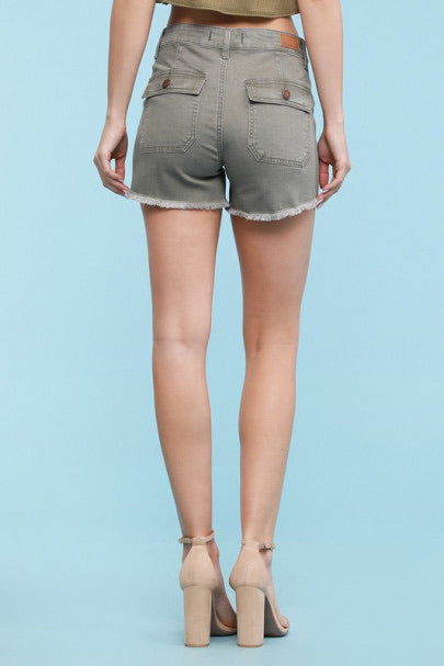 Olive Fatigue Patch Pocket Shorts by Judy Blue, Unclassified - Lola Cerina Boutique
