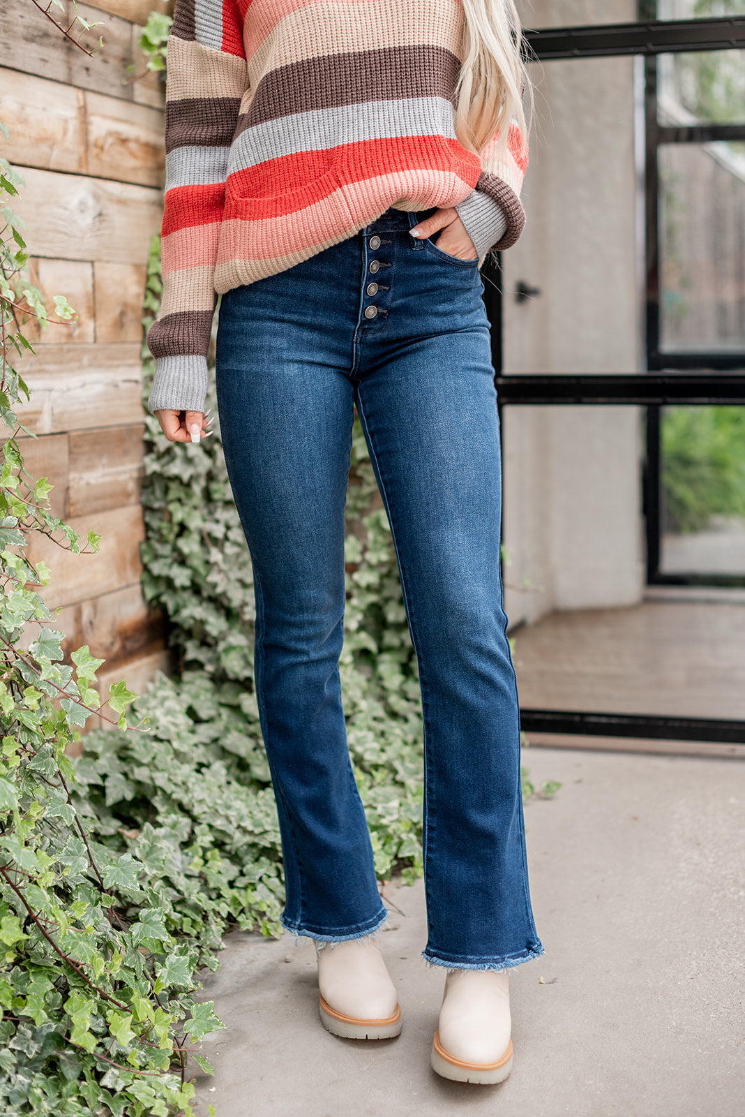 Girl Gang Double Button Skinny Jeans - Lola Cerina Boutique