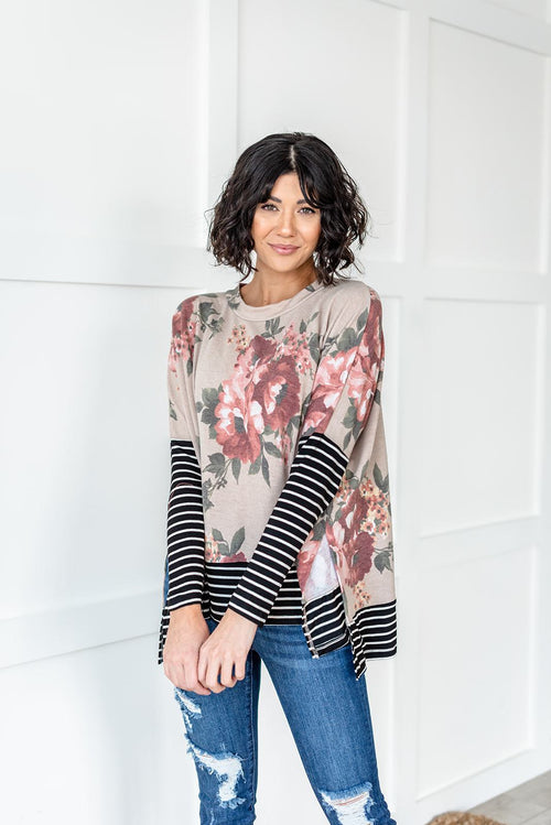 Beautiful Day Contrast Top- Taupe, Clothing - Lola Cerina Boutique