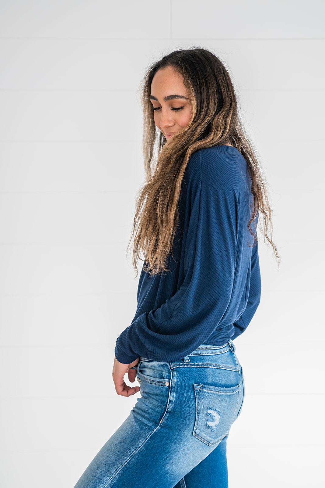 Beautiful Soul Ribbed Dolman Top- Navy, Clothing - Lola Cerina Boutique