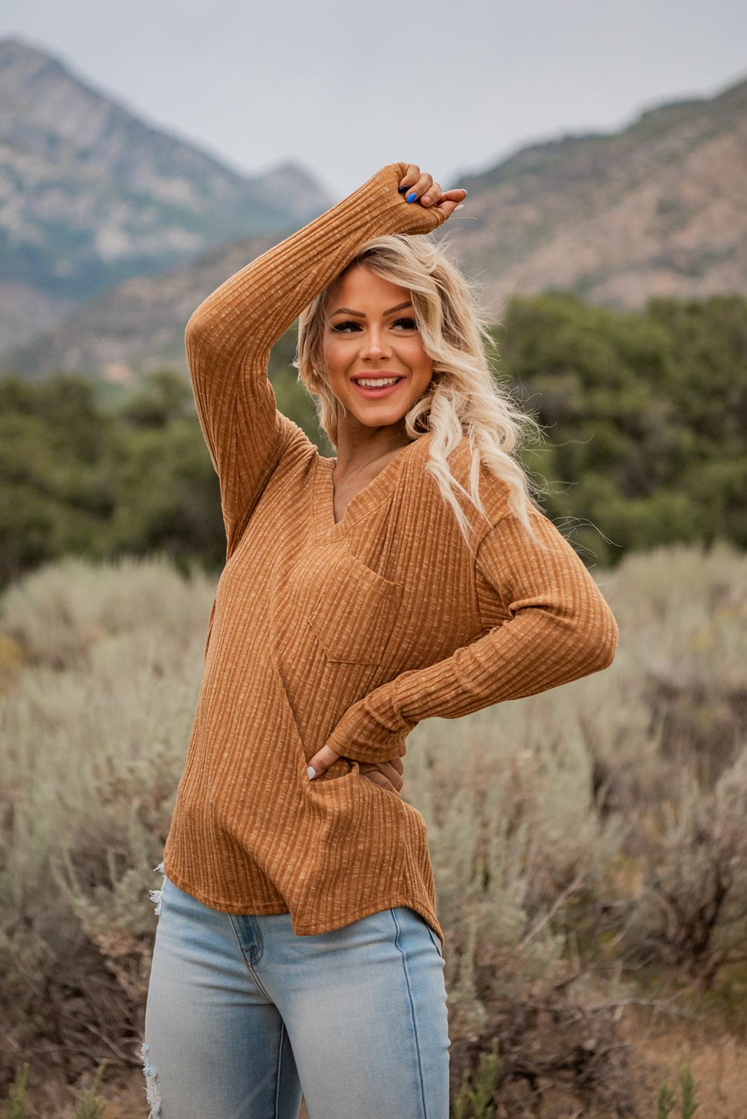 Live In the Moment Ribbed Top, Clothing - Lola Cerina Boutique