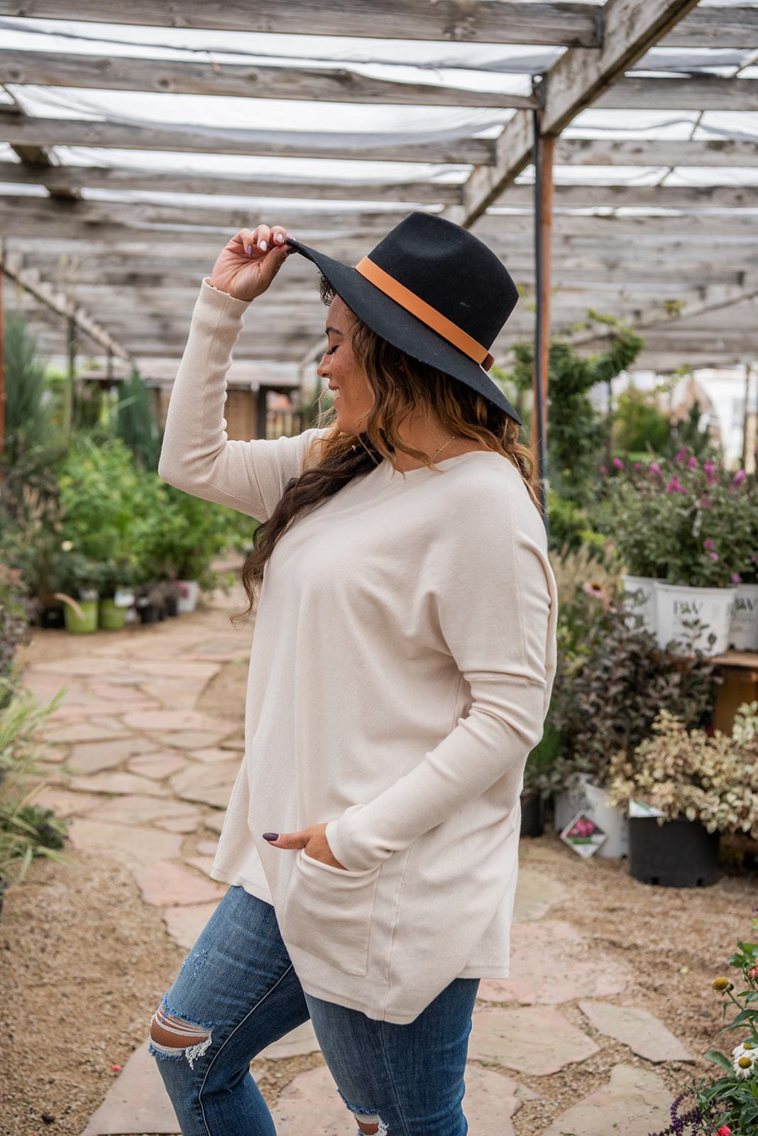 Get Comfortable Double Pocket Sweater- Oatmeal, Clothing - Lola Cerina Boutique
