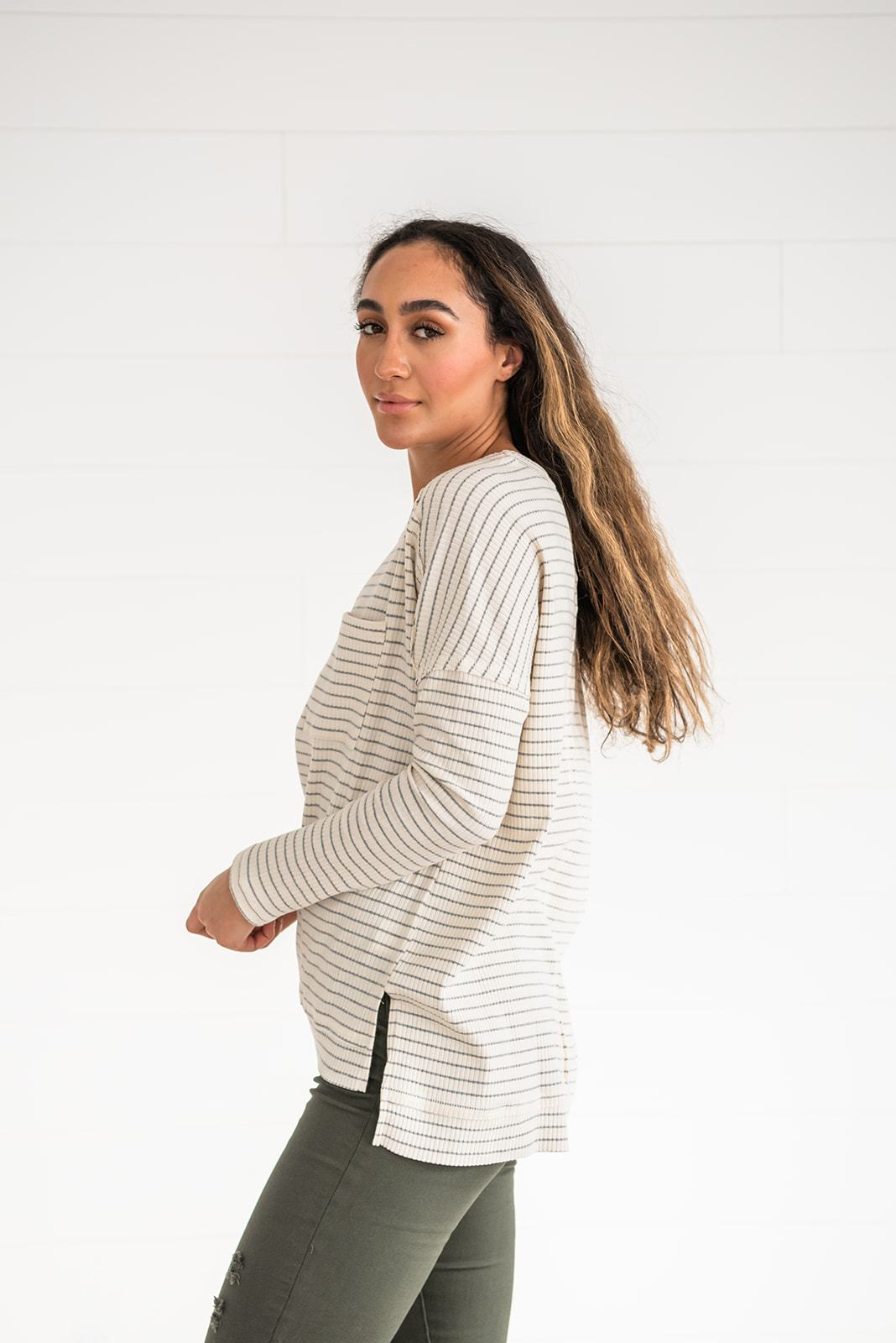 Keep It Casual Ribbed Striped Top, Clothing - Lola Cerina Boutique