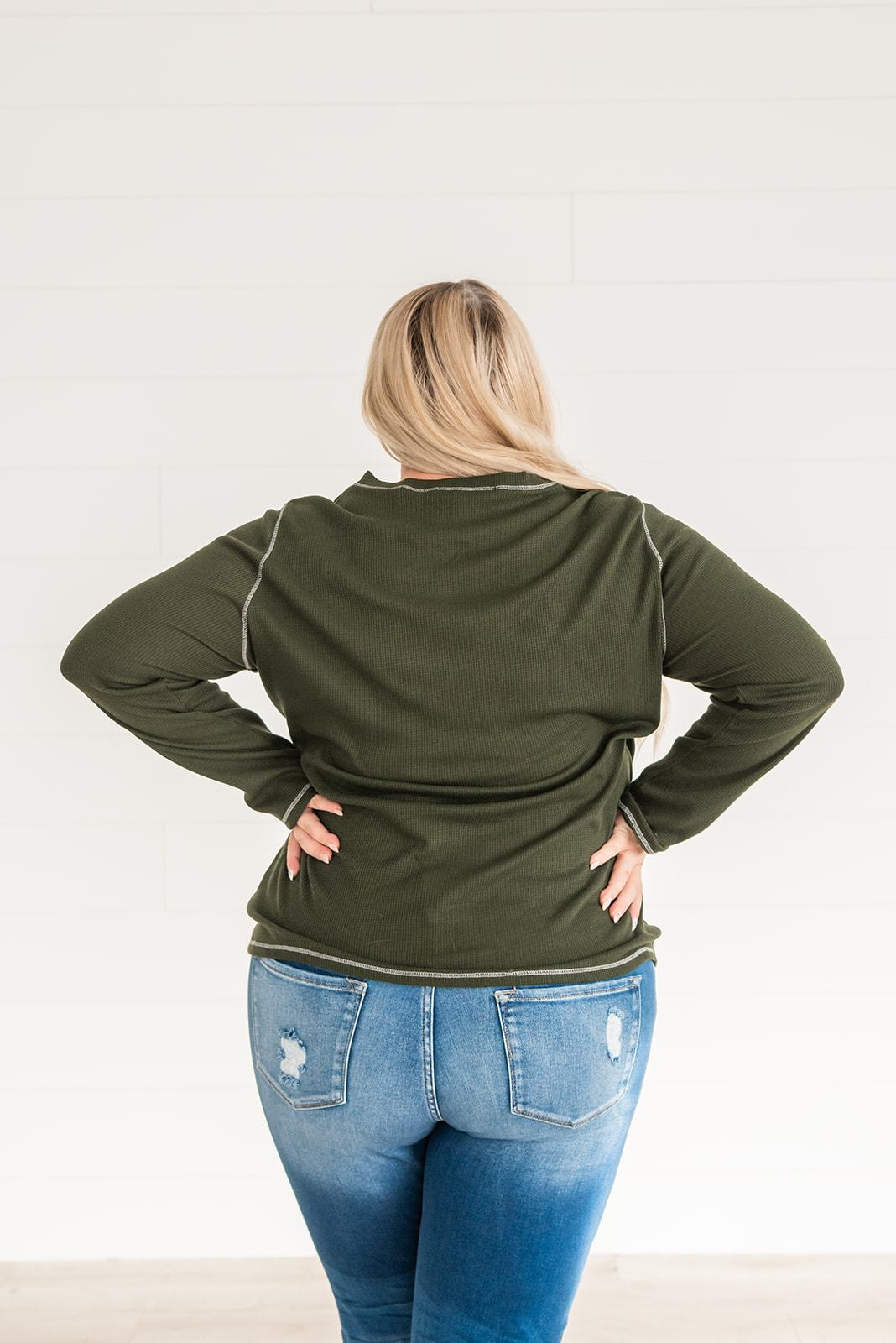 Basic Needs Thermal Henley Top- Olive, Clothing - Lola Cerina Boutique