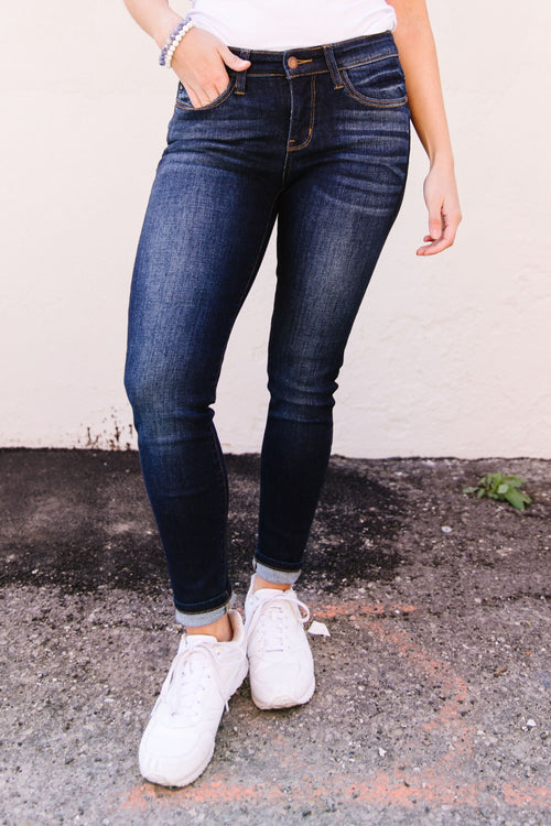 RESTOCK Tall Dark & Fashionable Skinny Jean by Judy Blue, Womens - Lola Cerina Boutique